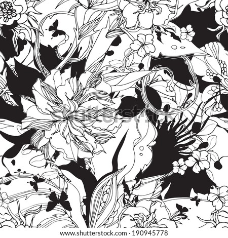 Seamless flowers pattern black and white - stock vector
