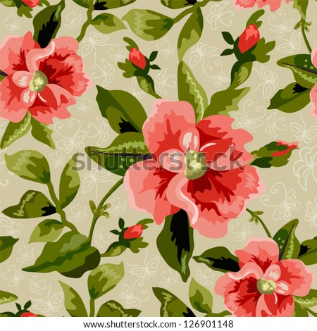 Seamless flowers pattern on beige  background - stock vector