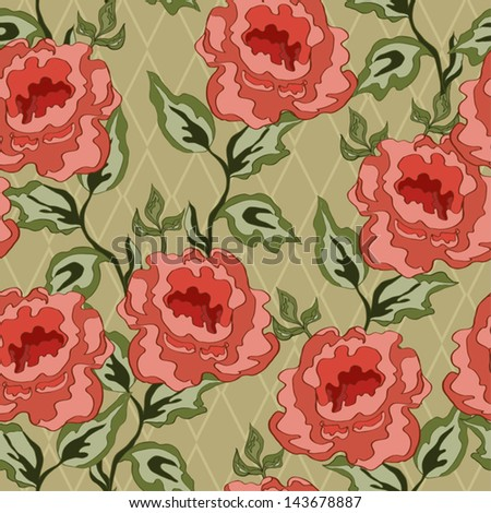 Seamless flowers pattern on beige background