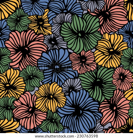 Seamless flowers pattern, vector floral illustration. Hand drawn floral texture. Colorful background - stock vector