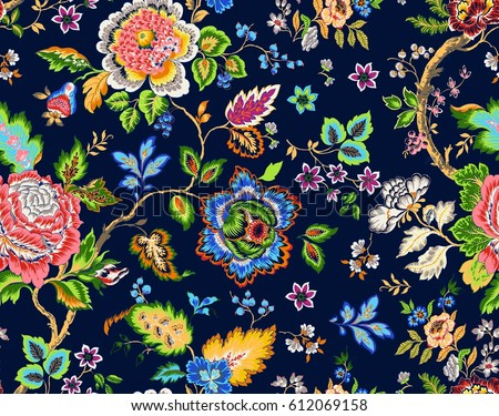 seamless flowers pattern. Vector illustration in asian textile style.