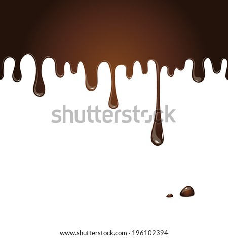 Seamless flowing melted chocolate on a white background - stock vector