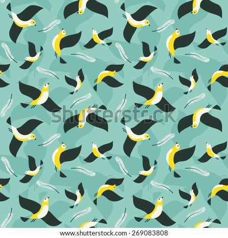 Seamless flying birds pattern. - stock vector