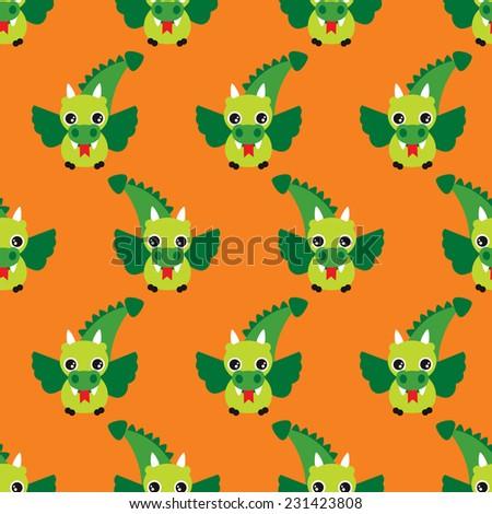 Seamless flying fantasy dragon kids retro illustration background pattern design in vector - stock vector