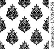 Seamless foliate arabesque pattern in black and white suitable for print or fabric design. Rasterized version also available in gallery - stock vector