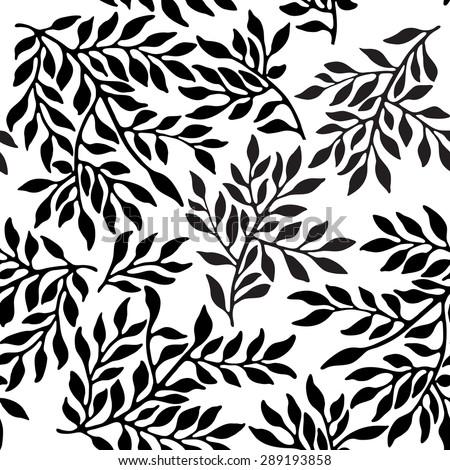 Seamless foliate ornament. Black and white pattern - stock vector