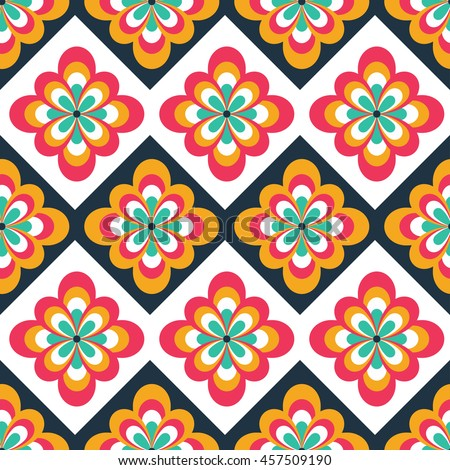 Seamless Folk Pattern Floral Decorations Ethnic Stock Vector