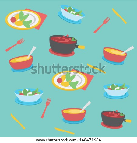 Seamless food background - stock vector