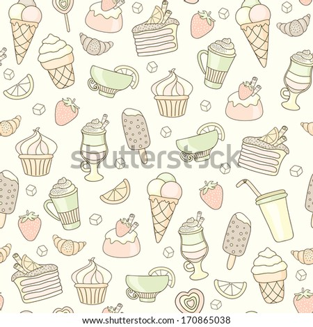 Seamless food background with sweets, ice-cream, cake and coffee  - stock vector