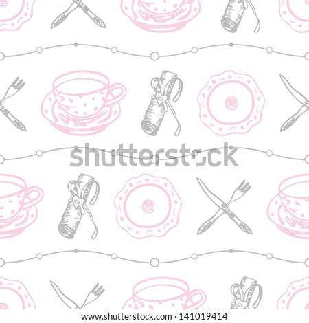 Seamless food pattern with plates and dishes on the white background in vector - stock vector