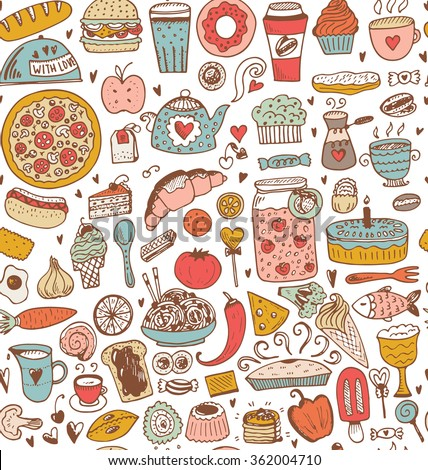 Seamless food sketch pattern. Vector illustration in vintage style. - stock vector