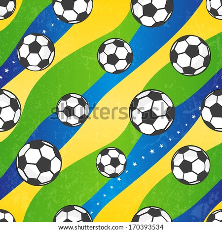 Seamless football pattern against the colors of the Brazilian flag. Vector background EPS 10. Grunge effect can be removed. - stock vector