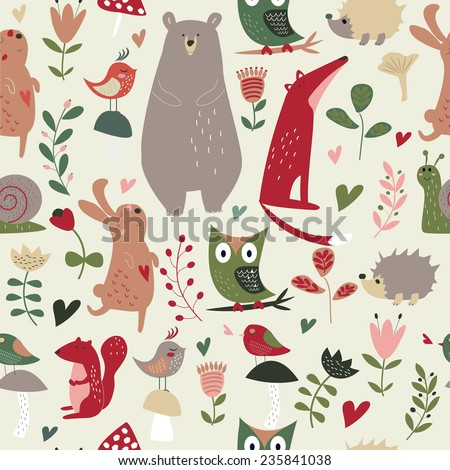 Seamless forest animals background with cute hare, owl, hedgehog, bear, squirrel, fox, snail, birds, mushrooms and flowers in cartoon style - stock vector