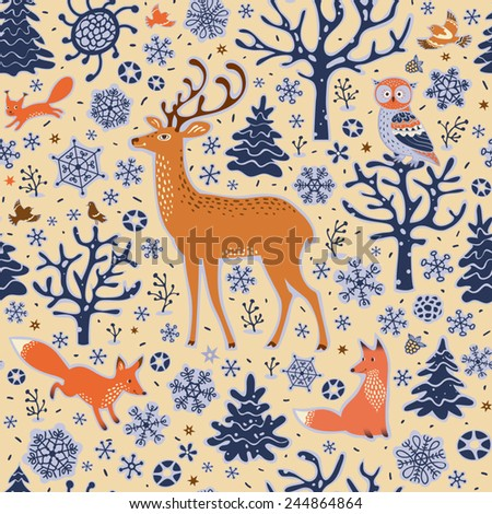 Seamless forest background. Winter pattern. Owl, deer, foxes, squirrel, birds, trees and snowflakes. Vector illustration.