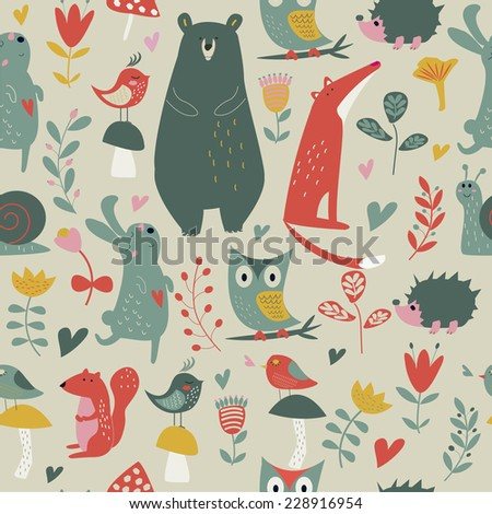 Seamless forest background with cute bear, fox, squirrel, owl, birds, mushrooms, snail, hedgehog, hare and flowers in cartoon style
