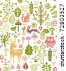 seamless forest pattern with little animals - stock photo