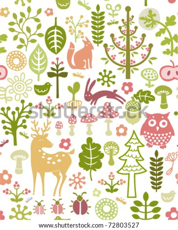 seamless forest pattern with little animals - stock vector