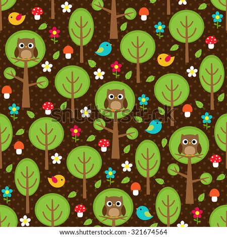 Seamless forest pattern with owls, birds, trees, leaves, mushrooms and flowers - stock vector