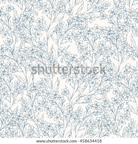 Seamless forget me not pattern with sketch flowers and leafs. Hand drawn