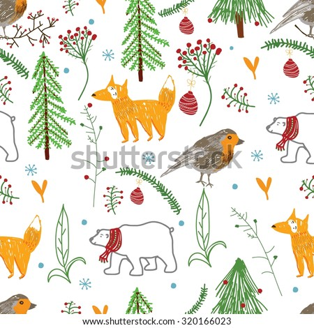 Seamless Fox, bird, bear,  winter forest, happy, pattern in vector.  Beautiful background