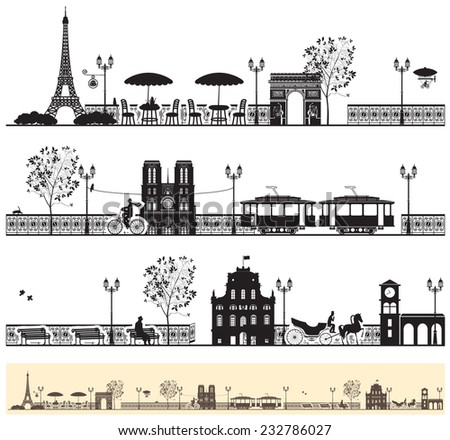 seamless frieze with the Paris streets and architectural sights