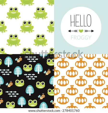 Seamless frog prince theme cute forest animal design illustration background pattern collection for kids and hello froggy postcard cover design in vector - stock vector