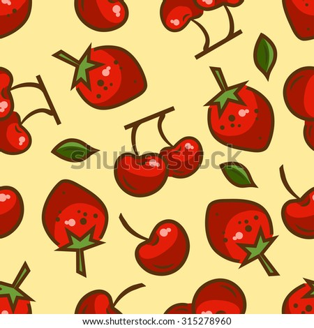 Seamless fruit background - vector pattern with berries. Vector illustration. Funny fruit. Cute Seamless Pattern. - stock vector