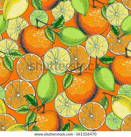 Seamless fruit pattern with citrus: lemon, lime, orange. Hand drawn illustration in sketch style. - stock vector