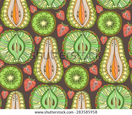 Seamless fruits pattern. Abstract background with fruits. Healthy food texture. Vector illustration - stock vector