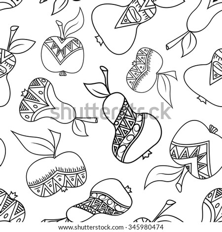 Seamless fruits pattern: pears and apples. Black and white vector illustration. Ornament drawing.