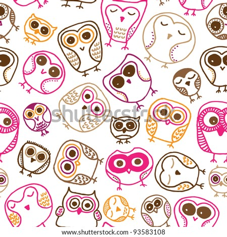 Seamless  fun colorful owl doodle background pattern for kids in vector - stock vector