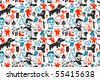 Seamless funny doodles pattern. Vector illustration. - stock vector