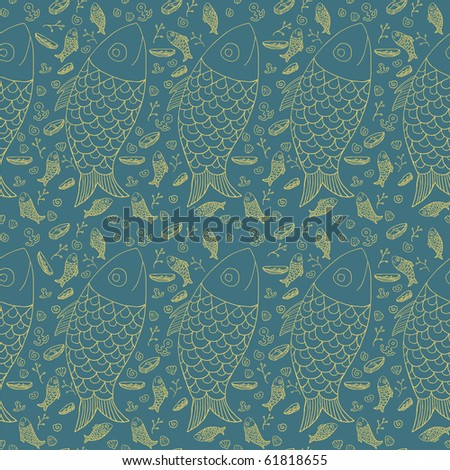 Seamless funny fish pattern in retro style - stock vector