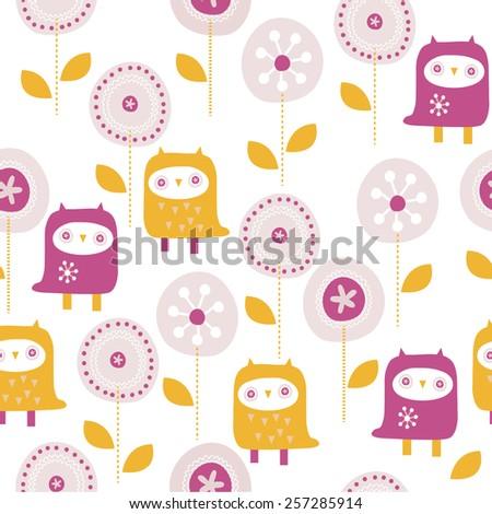 seamless funny owl vector illustration - stock vector