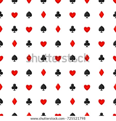 Seamless game card suit pattern. Vector illustration for design cover, wallpaper, poster, brochure, banner, web and other