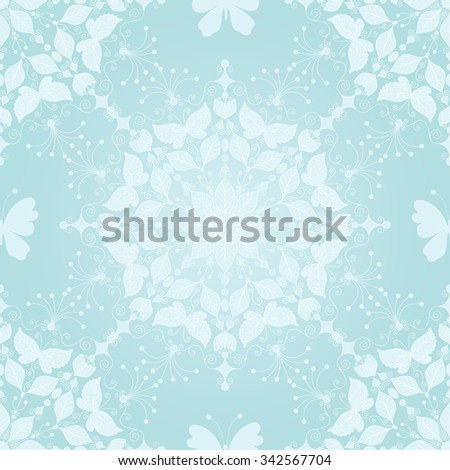 Seamless gentle christmas pattern with snowflakes and butterfly, vector eps 10 - stock vector