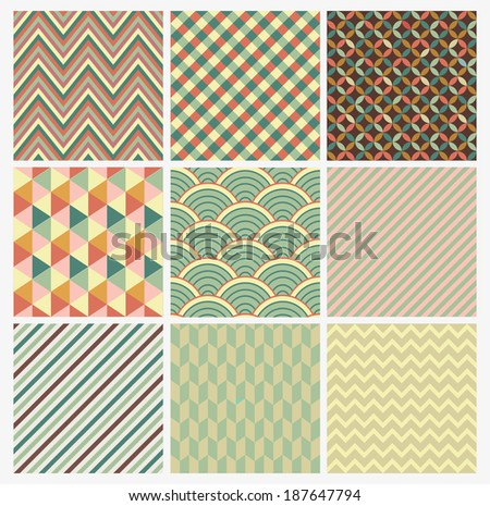 Seamless geometric abstract background set. Patterns Vector - stock vector
