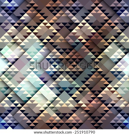 Seamless geometric abstract pattern in aztecs style on relief background. - stock vector