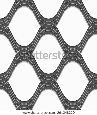 Seamless geometric background. Modern monochrome 3D texture. Pattern with realistic shadow and cut out of paper effect.3D gray overlapping waves on white. - stock vector