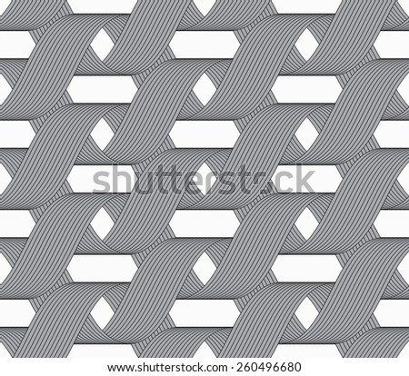 Seamless geometric background. Modern monochrome ribbon like ornament. Pattern with textured ribbons.Ribbons forming horizontal overlapping loops pattern. - stock vector