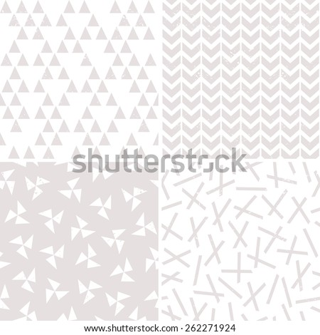 Seamless geometric background patterns in stone and white for gift wrapping paper, wedding, textiles and scrapbooking. Includes windmills, pickup sticks, chevrons and triangles with grunge overlay. - stock vector