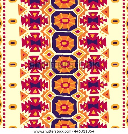 Seamless geometric background. Vintage carpet. Handmade. Burgundy, blue, orange and yellow colors. Weaving craft. Uneven edge. Ethnic and tribal motifs. Vector illustration. - stock vector