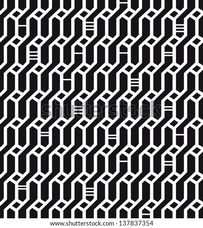 Seamless geometric black and white pattern. Network background. Wickerwork. Decorative endless texture for design textile, wrapping papers, packages, tiles - stock vector