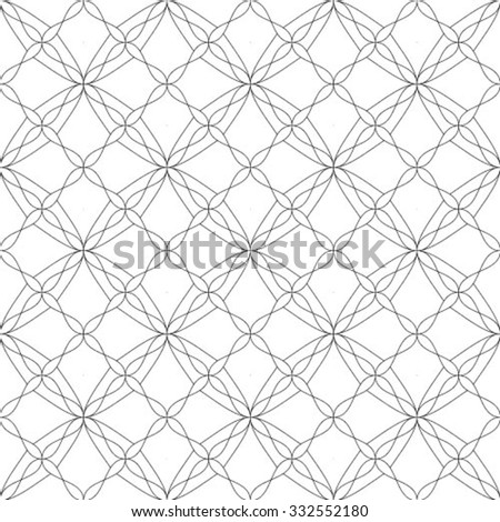 Seamless geometric black and white stripes background, simple vector pattern. - stock vector