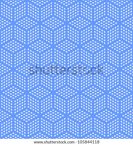 Seamless geometric blue pattern. Optical illusion texture. Vector art. - stock vector