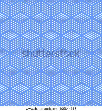 Seamless geometric blue pattern. Optical illusion texture. Vector art. - stock vector