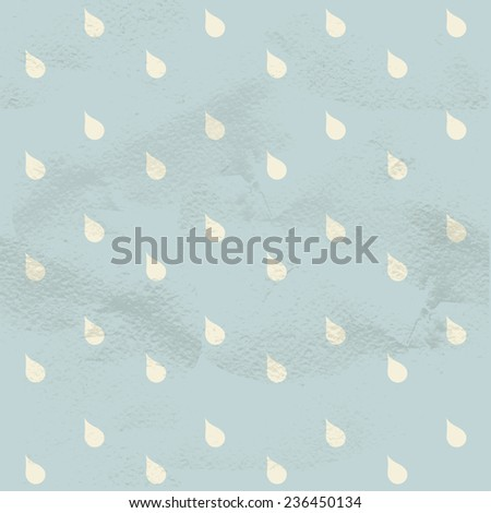 Seamless geometric blue vintage pattern from white raindrops - stock vector