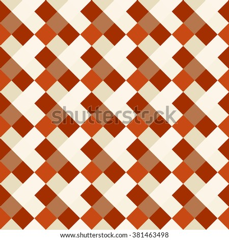 Seamless geometric checked pattern. Diagonal square, braiding, woven line background. Patchwork, rhombus, staggered texture. Orange, beige, brown colors. Winter theme. Vector - stock vector