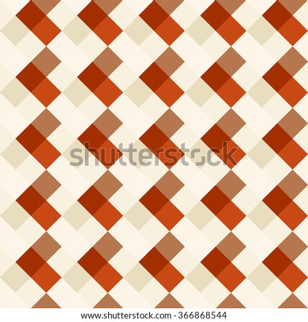 Seamless geometric checked pattern. Diagonal square, woven line background. Patchwork, rhombus, staggered texture. Brown, orange, beige colors. Vector - stock vector