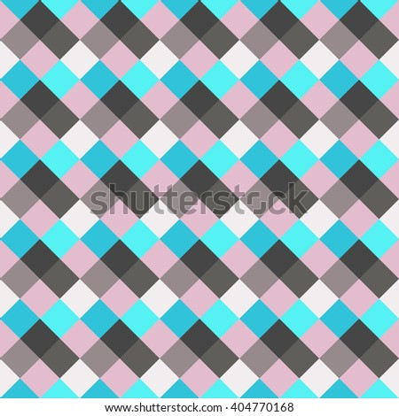 Seamless geometric checked pattern. Diagonal square, woven line background. Rhombus, patchwork texture. Blue, gray, rose, sea, soft colored. Vector - stock vector